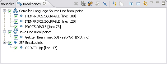 WDSC breakpoints view